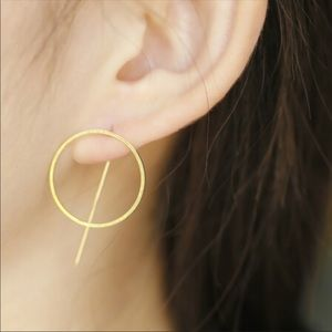 Jewelry - Gold toned circle stud drop earrings